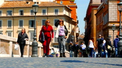 The famous Ponte Sisto in Rome Stock Footage