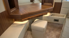 Makeup table in main cabin on luxury yacht Stock Footage