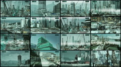 CCTV 4x4 split screen construction sites security. Stock Footage