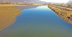 Stock Video Footage of Aerial - Flight over the wetland of Lake Kerkini in northern Greece
