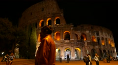 The Colosseum of Rome at night - stock footage