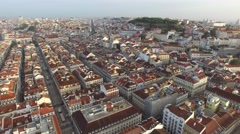Aerial View of Baixa Chiado and Alfama, Lisbon, Portugal Stock Footage