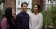Stock Video Footage of International students get keys to their new accommodation. Shot on RED Epic.