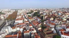Aerial View of Restauradores Square, Lisbon, Portugal Stock Footage