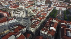 Aerial View of Baixa Chiado with Santa Justa Lift in Lisbon, Portugal Stock Footage