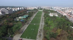 Aerial View of Marques de Pombal Square, Lisbon, Portugal - stock footage