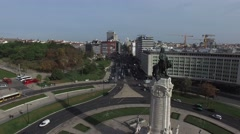Aerial View of Marques de Pombal Square, Lisbon, Portugal Stock Footage
