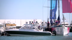 Sca sailing boat docked during Genoa Boat Show Stock Footage