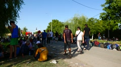Scene from the Refugee camp in Tovarnik Stock Footage