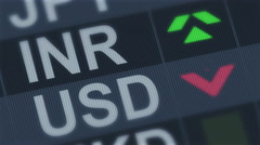 Indian rupee compared to American dollar. Currency exchange rate fluctuations - stock footage