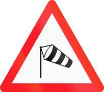 Warning sign used in Switzerland - side wind - stock illustration