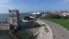 Aerial view of Belem tower - Torre de Belem in Lisbon, Portugal Stock Footage