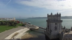 Aerial view of Belem tower - Torre de Belem in Lisbon, Portugal - stock footage