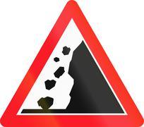 Stock Illustration of Warning sign used in Switzerland - falling rocks