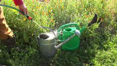 Gardener filling two watering pots for irrigation, 4K Stock Footage