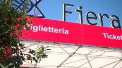 Main entrance of Genoa Boat Show Stock Footage