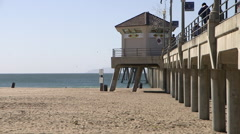 Huntington Beach Pier South Side Stock Footage