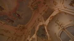Ceiling painting of baroque palace (pan tilt rotation) - stock footage