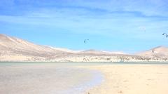 Kitesurfer in action on Fuerteventura Stock Footage