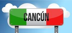 cancun Mexico road street sign - stock illustration