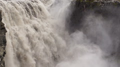 Dettifoss on Iceland: Europe's largest waterfall, steadycam, slow motion shot at Stock Footage