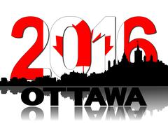 Ottawa skyline Canadian flag 2016 text illustration Piirros