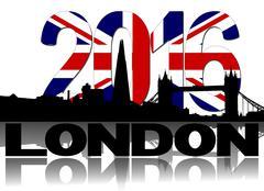Stock Illustration of Shard and London skyline with British flag 2016 text illustration