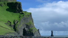 Time lapse Reynisdrangar cliffs at south coast of Iceland at daytime Stock Footage