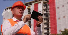 Builder Inspector Access Tablet Data Engineer Supervisor Construction Site Area Stock Footage