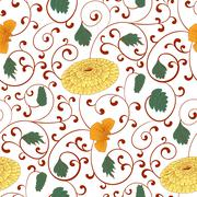 Seamless pattern with chinese ornament chrysanthemum - stock illustration