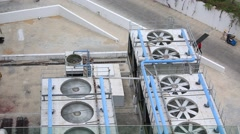 Exhaust vents of industrial air conditioning and ventilation units Stock Footage