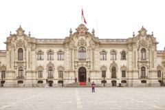LIMA, PERU - OCTOBER 31, 2011: Government palace with guards at Plaza de Arma Stock Photos