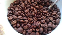 Coffee beans in a cup with spoon Stock Footage
