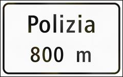Stock Illustration of Road sign used in Switzerland - Distance to police station in German