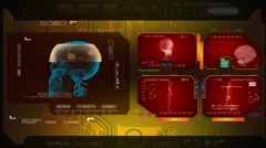 Skull  - Advanced Scanning - red 00 Stock Footage