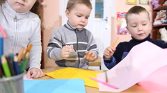 children paint crayons - stock footage
