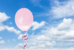pink baloons in the sky - stock photo