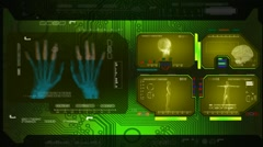 Hands - Advanced Scanning - green 00 Stock Footage