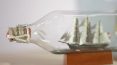 Antique ship in a bottle - Nautical Navy Figurine miniature Stock Footage