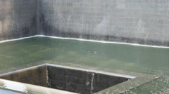 National September 11 Memorial  square pool fountain Manhattan New York City NYC Stock Footage