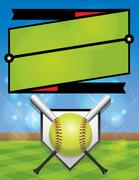 Stock Illustration of Vector Softball League Registration Illustration