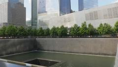 The National September 11 Memorial and Museum complex, New York City, tilt view Stock Footage