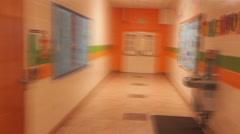 School hallway blur Stock Footage