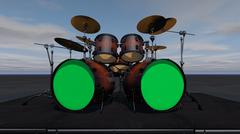 Stock Illustration of Drum Set With Double Bass Drum Green Screen Heads