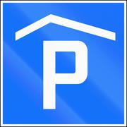 Road sign used in Switzerland - Covered parking place Stock Illustration