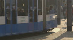 Tram driving - reflection of people - graded - stock footage