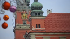 Christmas balls on Castle Square in Warsaw Stock Footage