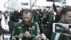 Portland Timbers Celebrate With Their Fans Stock Footage