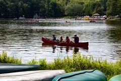 Mt. Gretna, PA, USA - August 23, 2015: Summer at the lake includes swimming a - stock photo