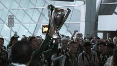 Portland Timbers Celebrate With The Cup Stock Footage